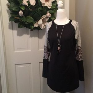 Tops - Black with Cheetah accent Top